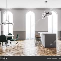 Pub Kitchen Table Storage Baskets 灰色厨房内拱窗酒吧边 图库照片 C Denisismagilov 195584592 灰色墙壁厨房与台面 酒吧和凳子 拱形窗口 一张带绿色椅子的桌子 舒适的房子概念 侧面视图 3d 渲染模拟 照片作者denisismagilov