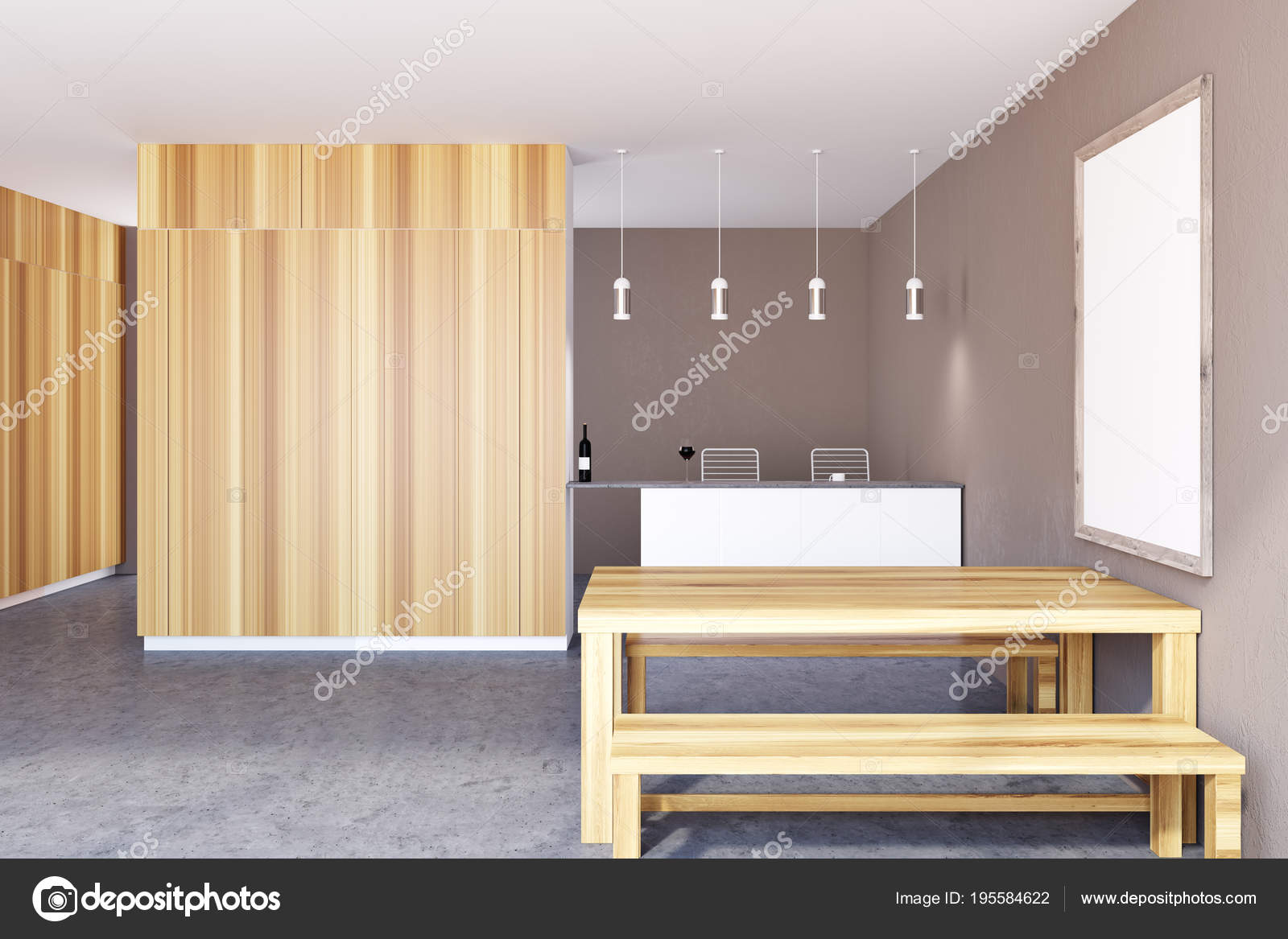 bench for kitchen table painting cabinets cost 乡村厨房内饰 框架海报 墙壁 图库照片 c denisismagilov 195584622 乡村餐厅内部有一张巨大的桌子 两个长凳和一张竖着的框架海报在墙上 一堵空墙 3d 渲染模拟 照片作者denisismagilov