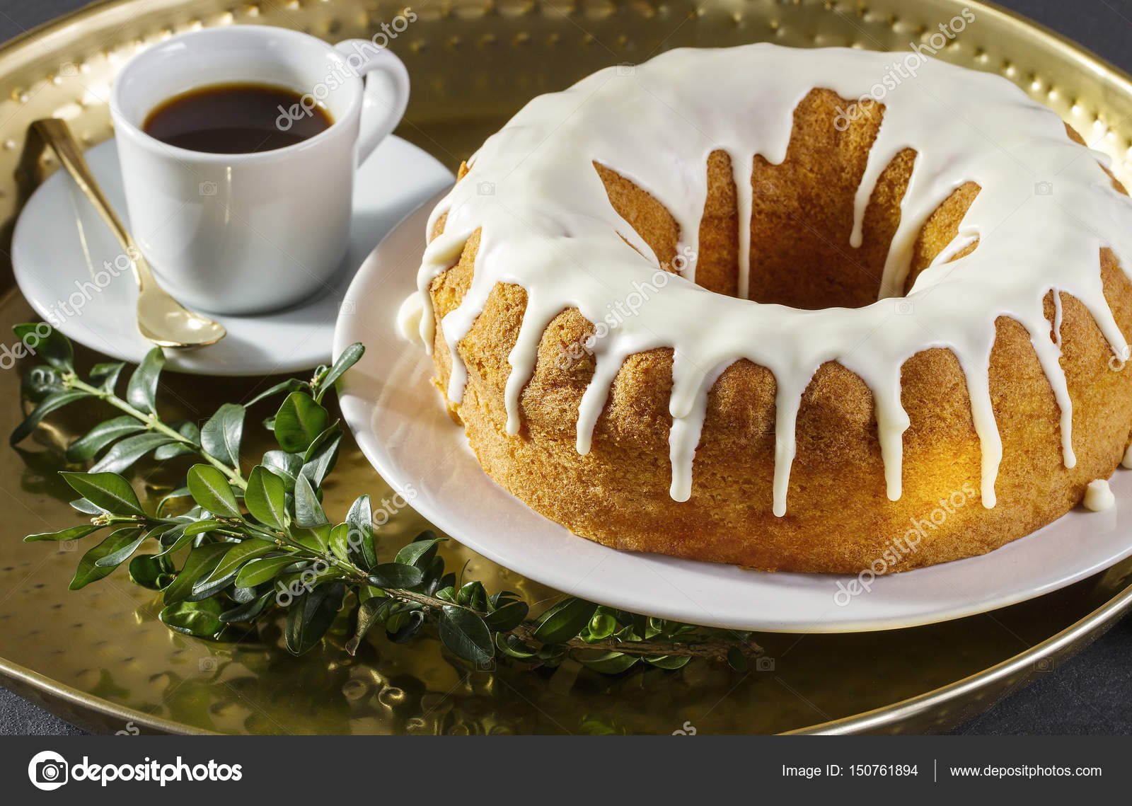 Traditional Easter Cake And A Cup Of Coffee On A Golden Tray Stock Photo C Fluostudio 150761894