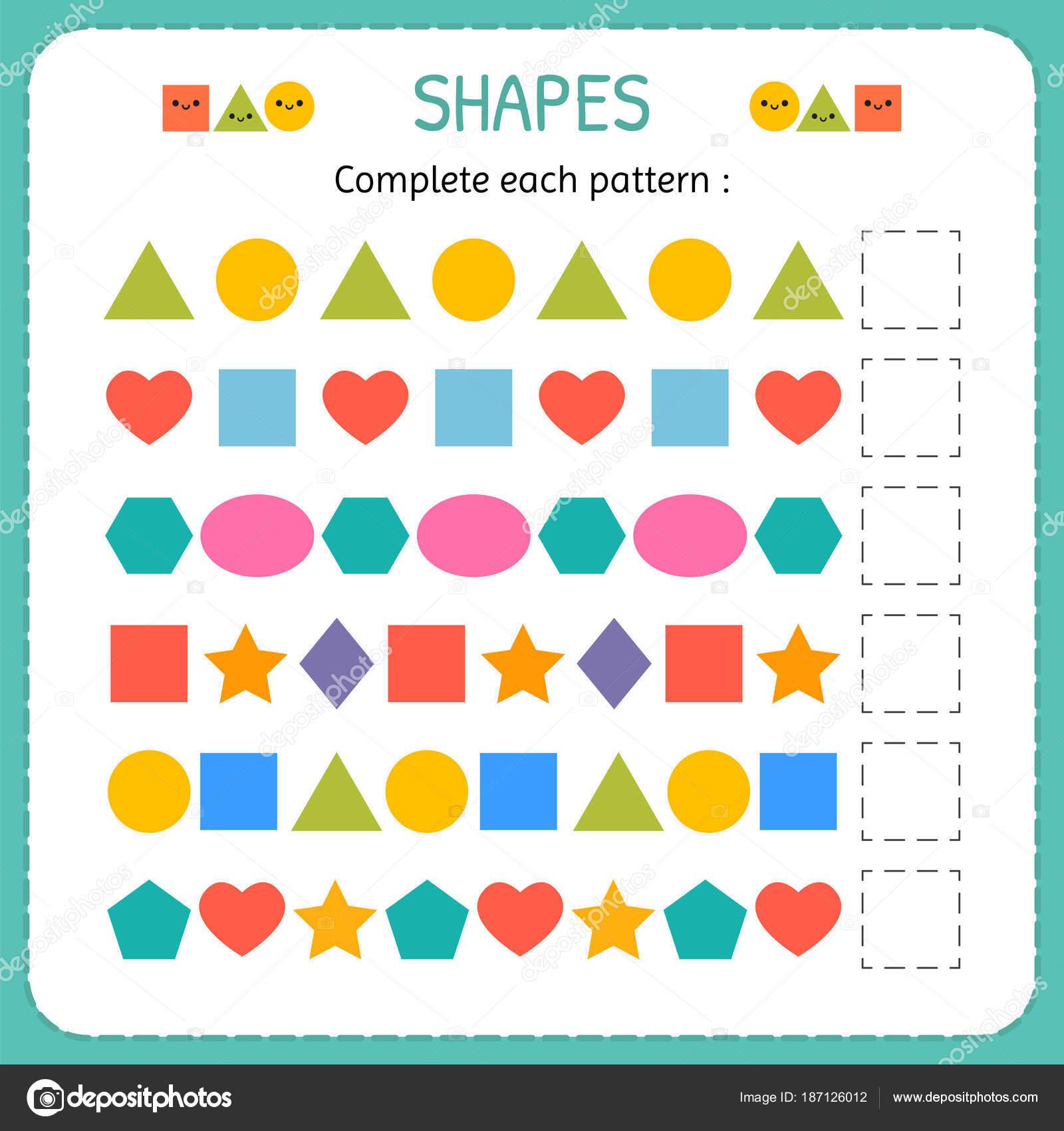 Completar Cada Patron Aprender Las Formas Y Figuras
