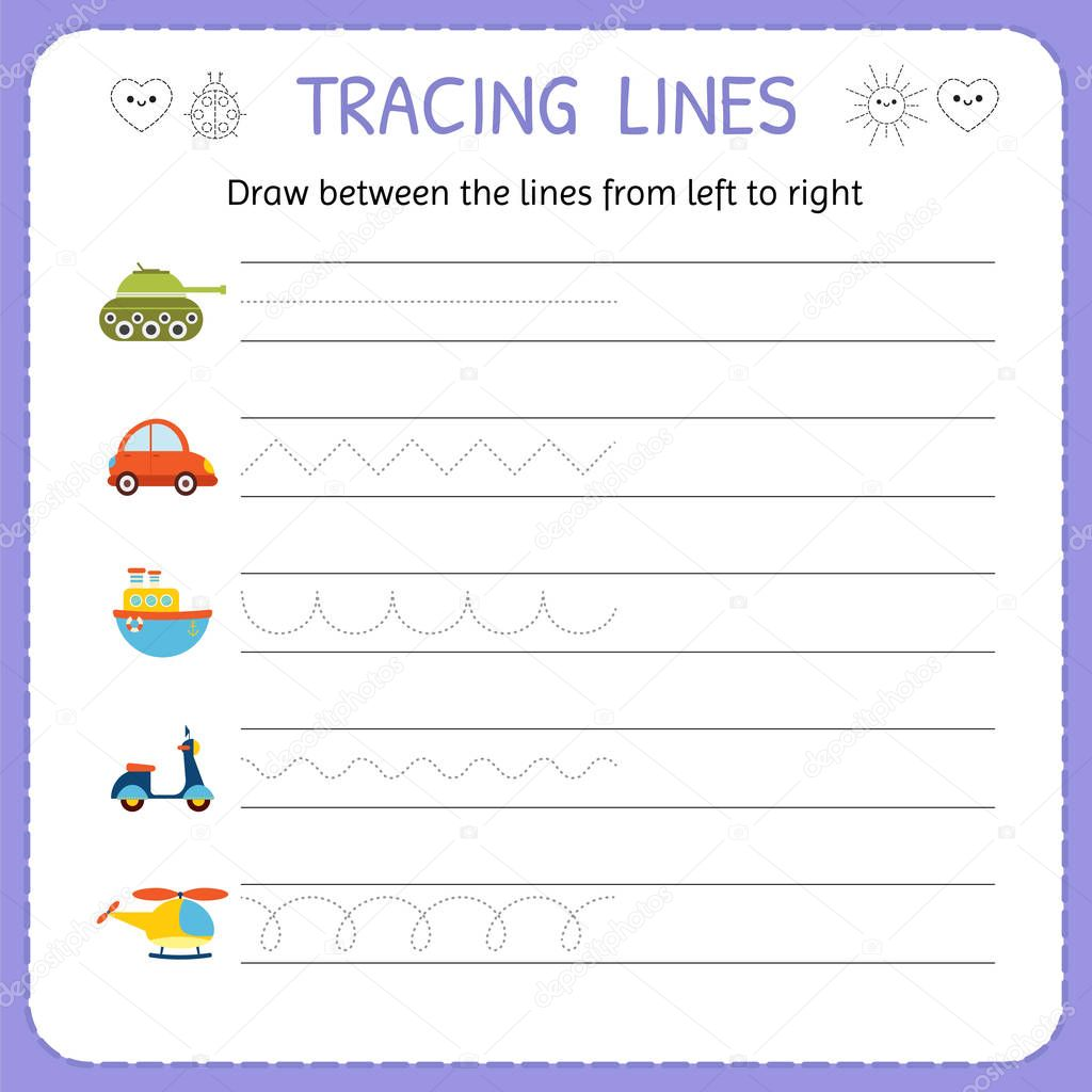 Draw Between The Lines From Left To Right Preschool