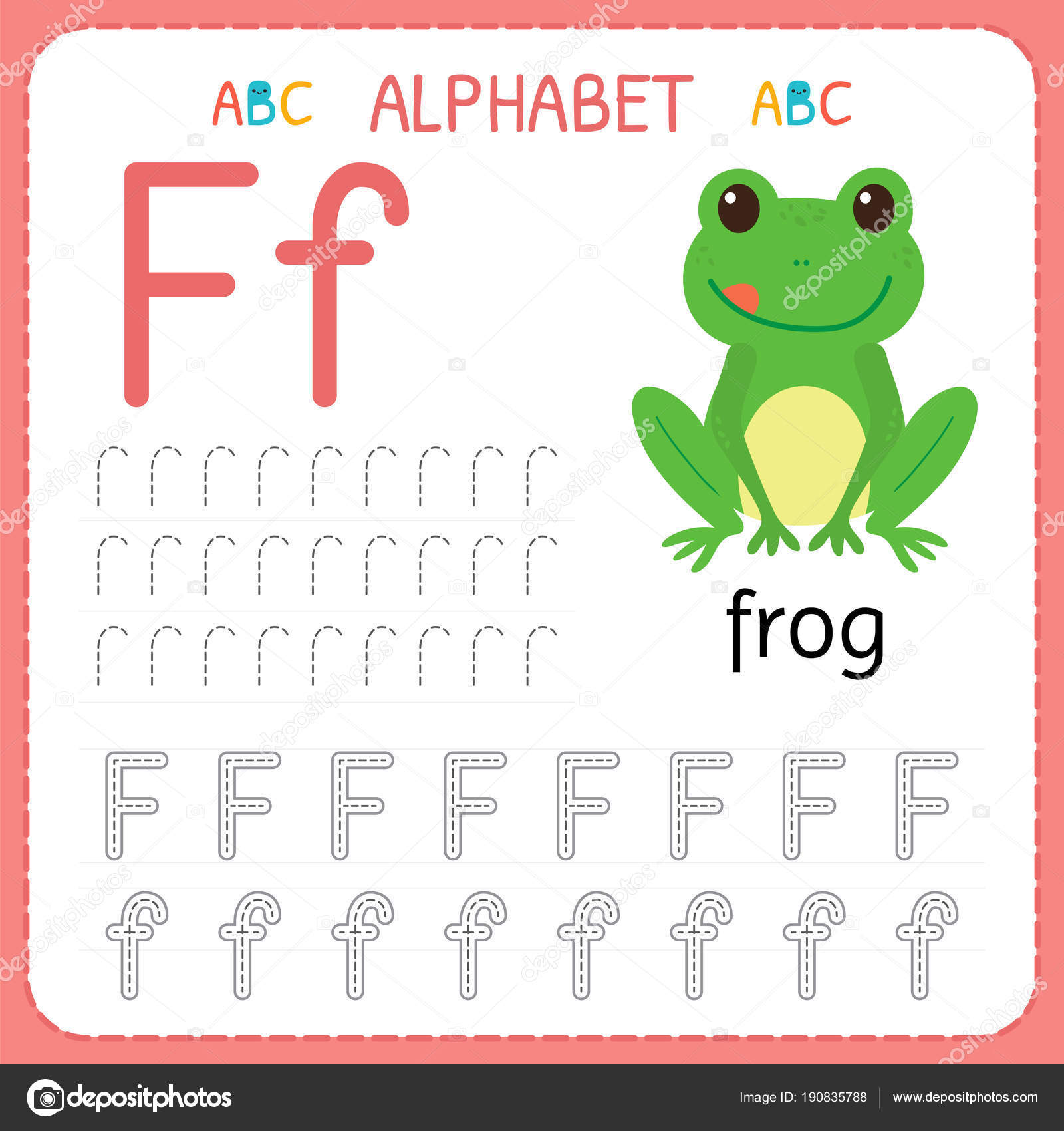Alphabet Tracing Worksheet For Preschool And Kindergarten Writing Practice Letter F Exercises