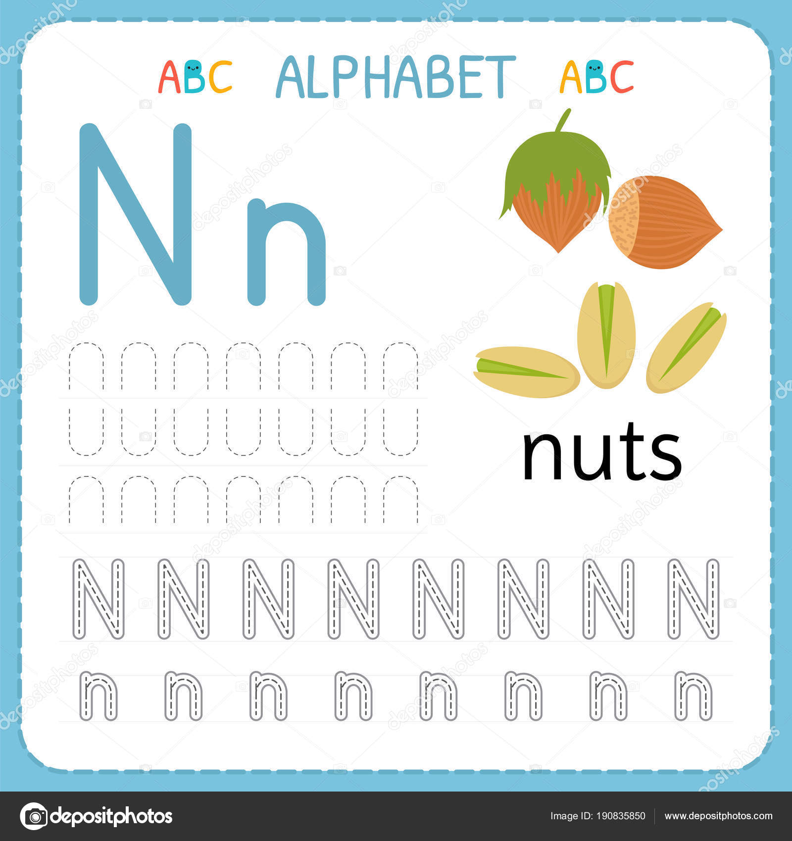 Alphabet Tracing Worksheet For Preschool And Kindergarten Writing Practice Letter N Exercises