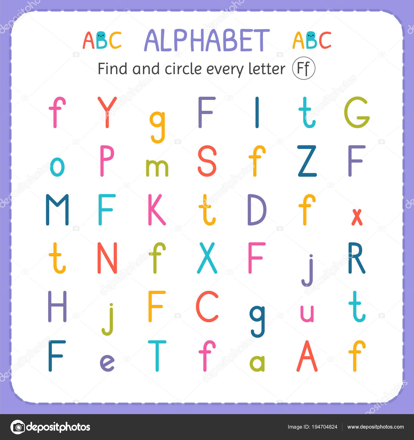 Find And Circle Every Letter F Worksheet For Kindergarten