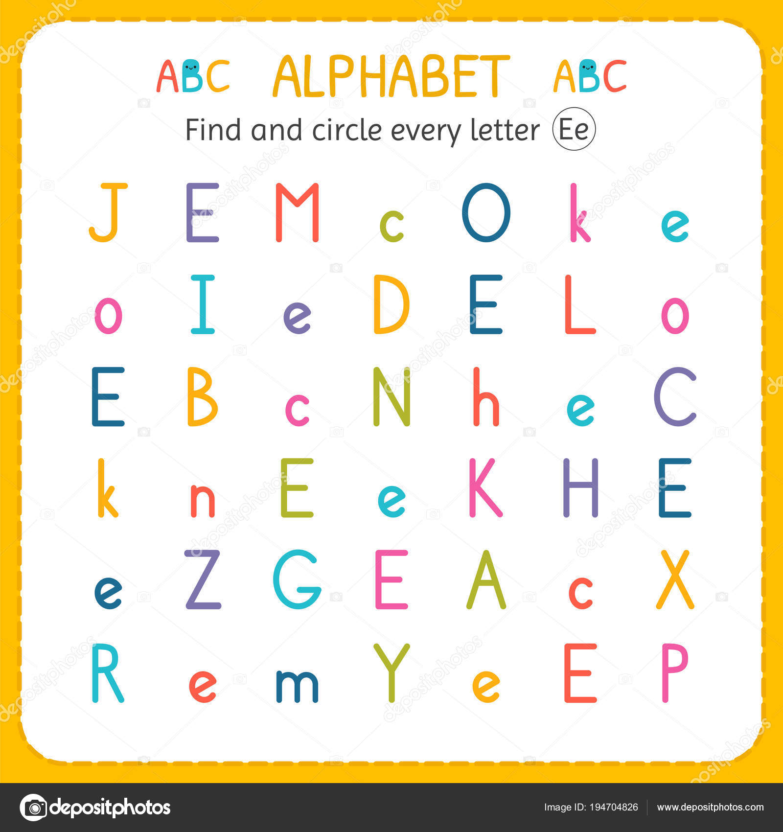 Find And Circle Every Letter E Worksheet For Kindergarten