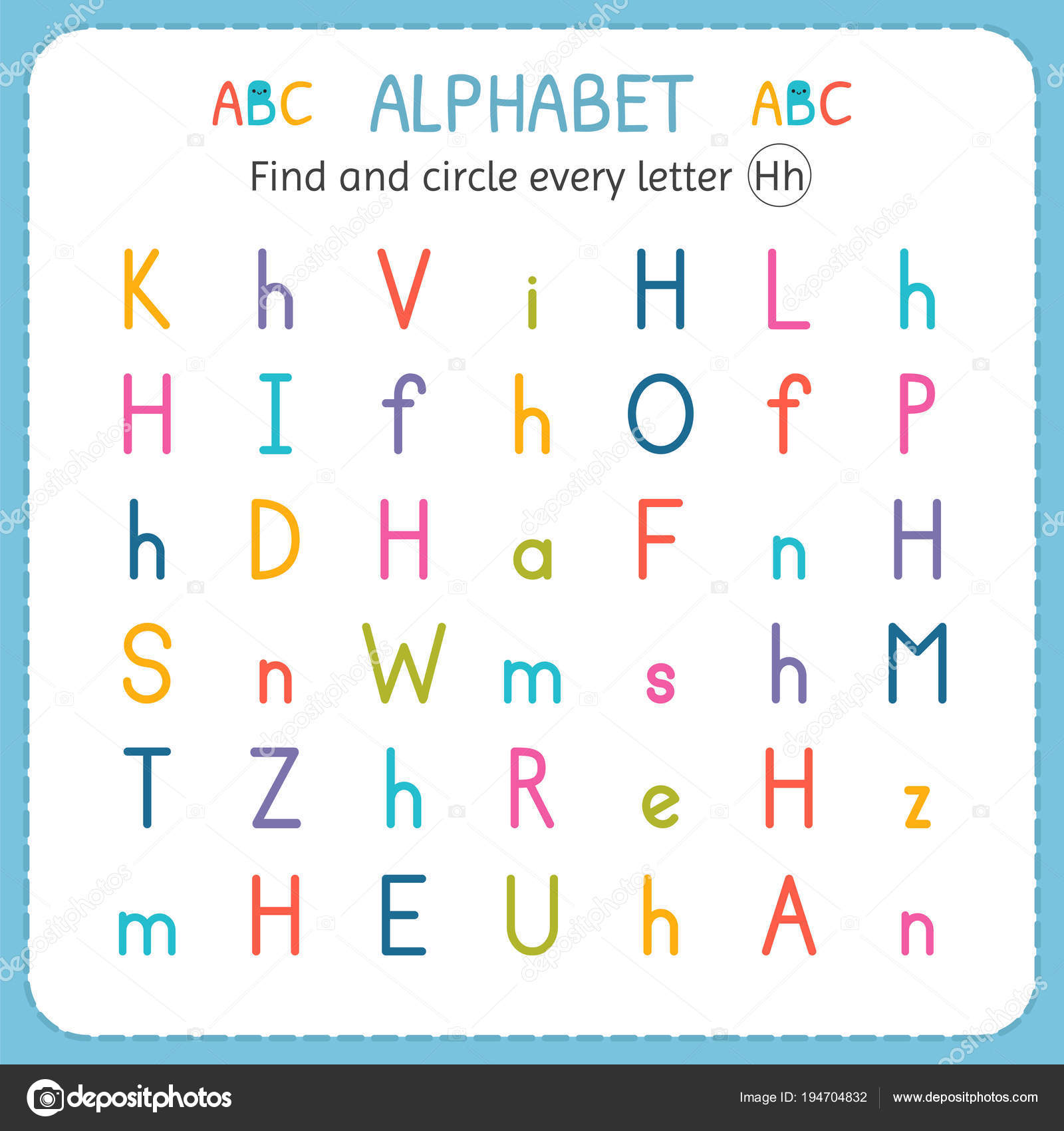 Find And Circle Every Letter H Worksheet For Kindergarten And Preschool Exercises For Children