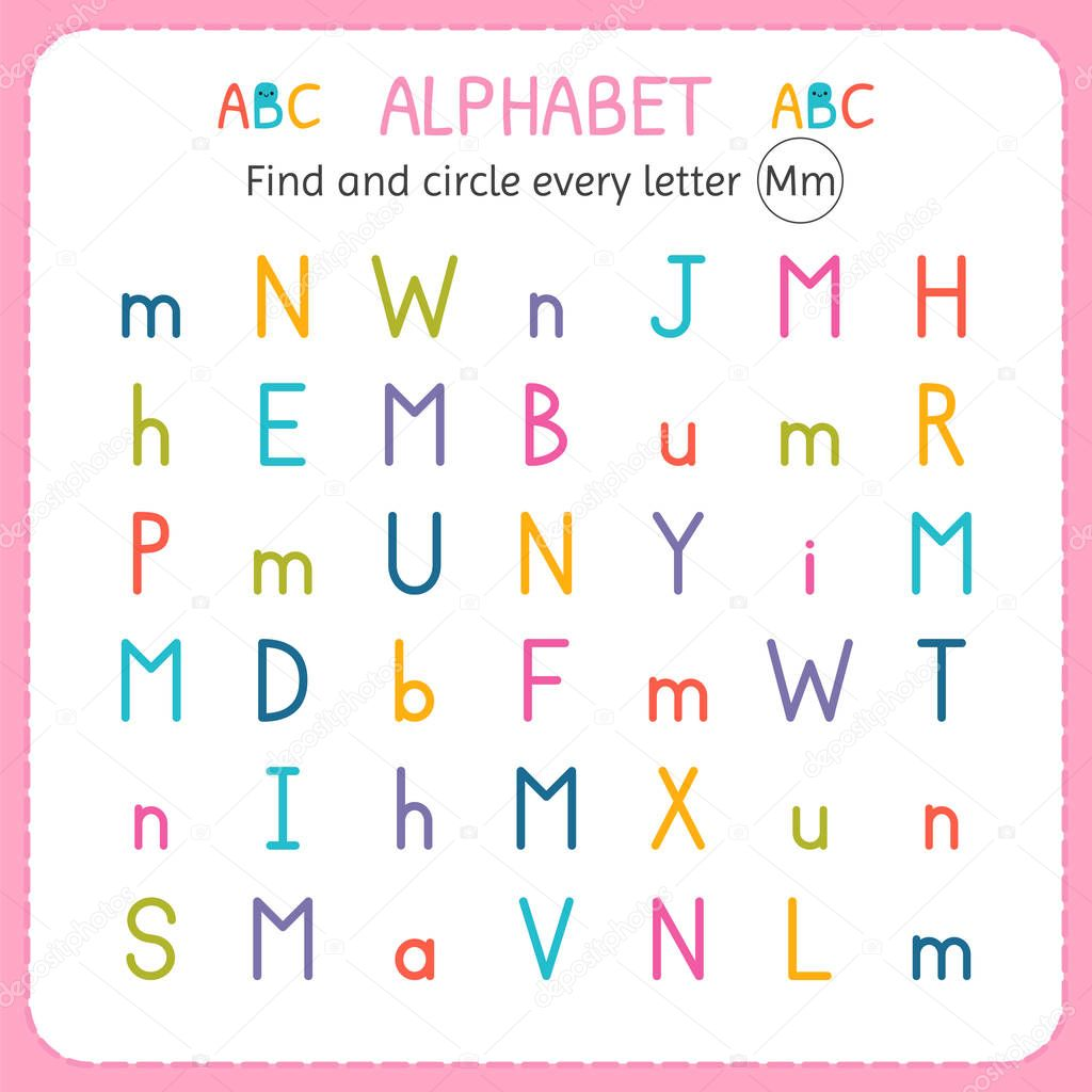Find And Circle Every Letter M Worksheet For Kindergarten