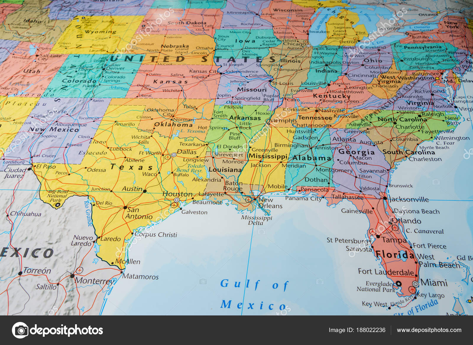 South Usa States Map Stock Photo C Aallm 188022236