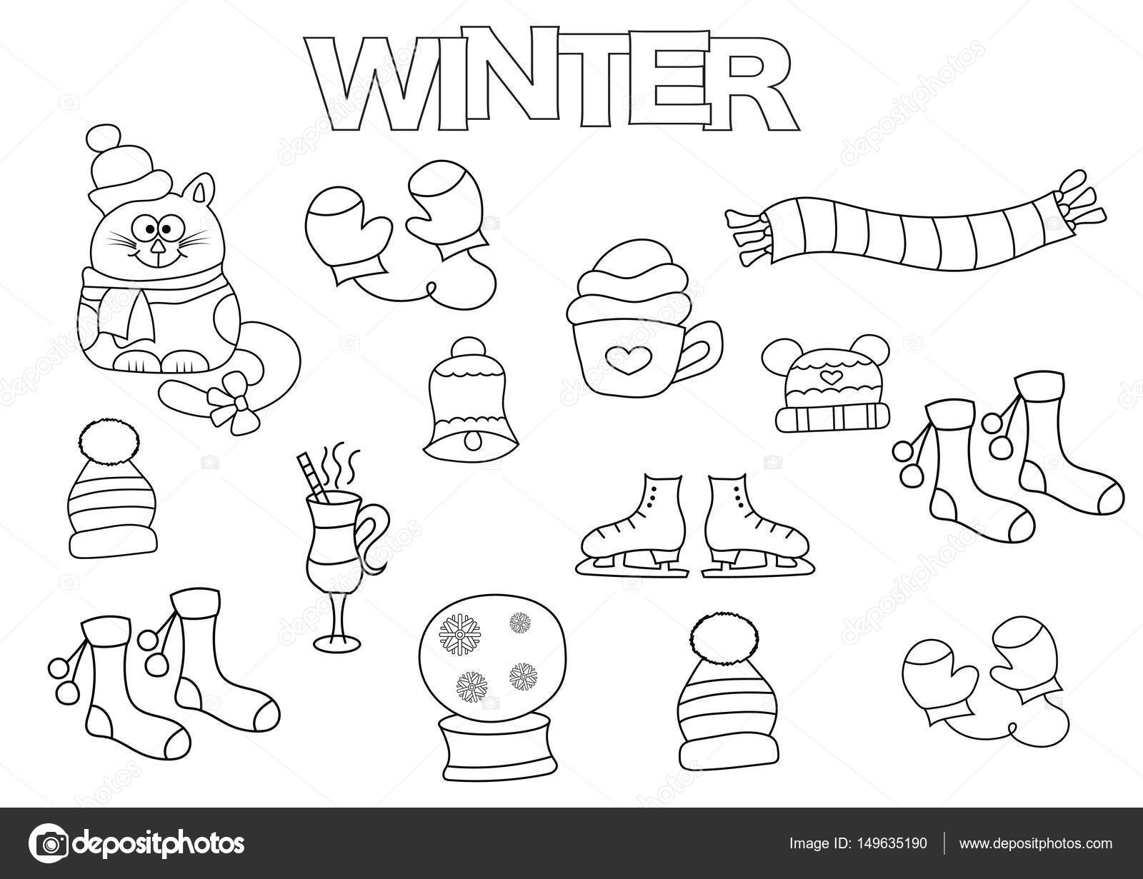 Hand drawn winter set. Coloring book template. Outline