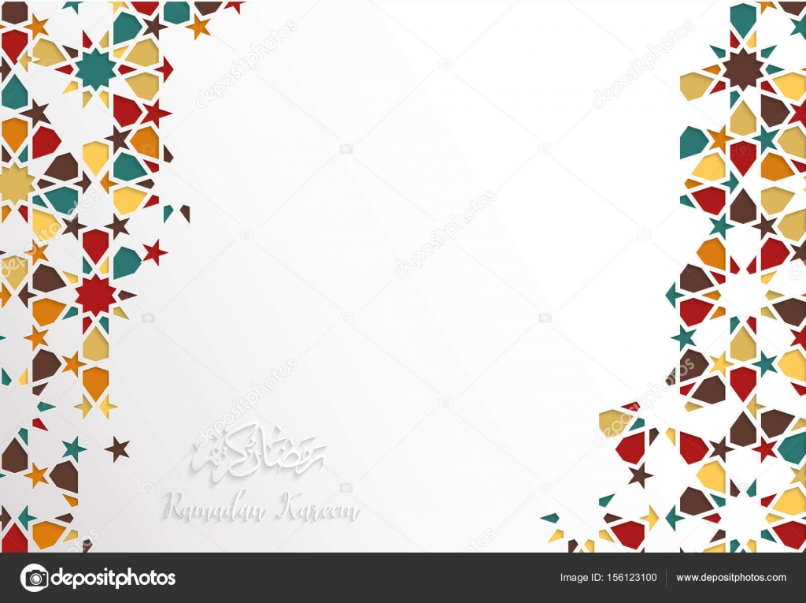 Wallpaper Border Falling Off Islamic Design Greeting Card Template For Ramadan Kareem