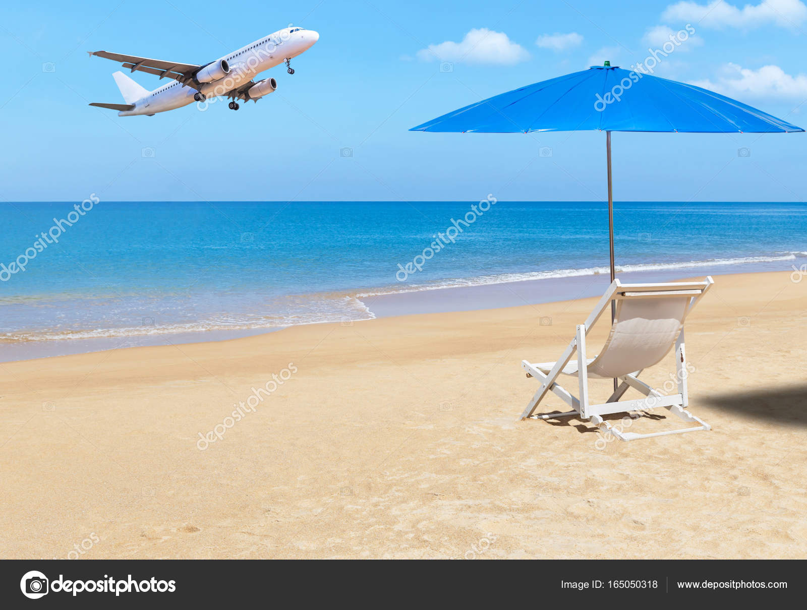air travel beach chairs table and chair set for 8 year old passenger airplane flying landing above tropical with white wooden blue parasol on sky background destinations concept