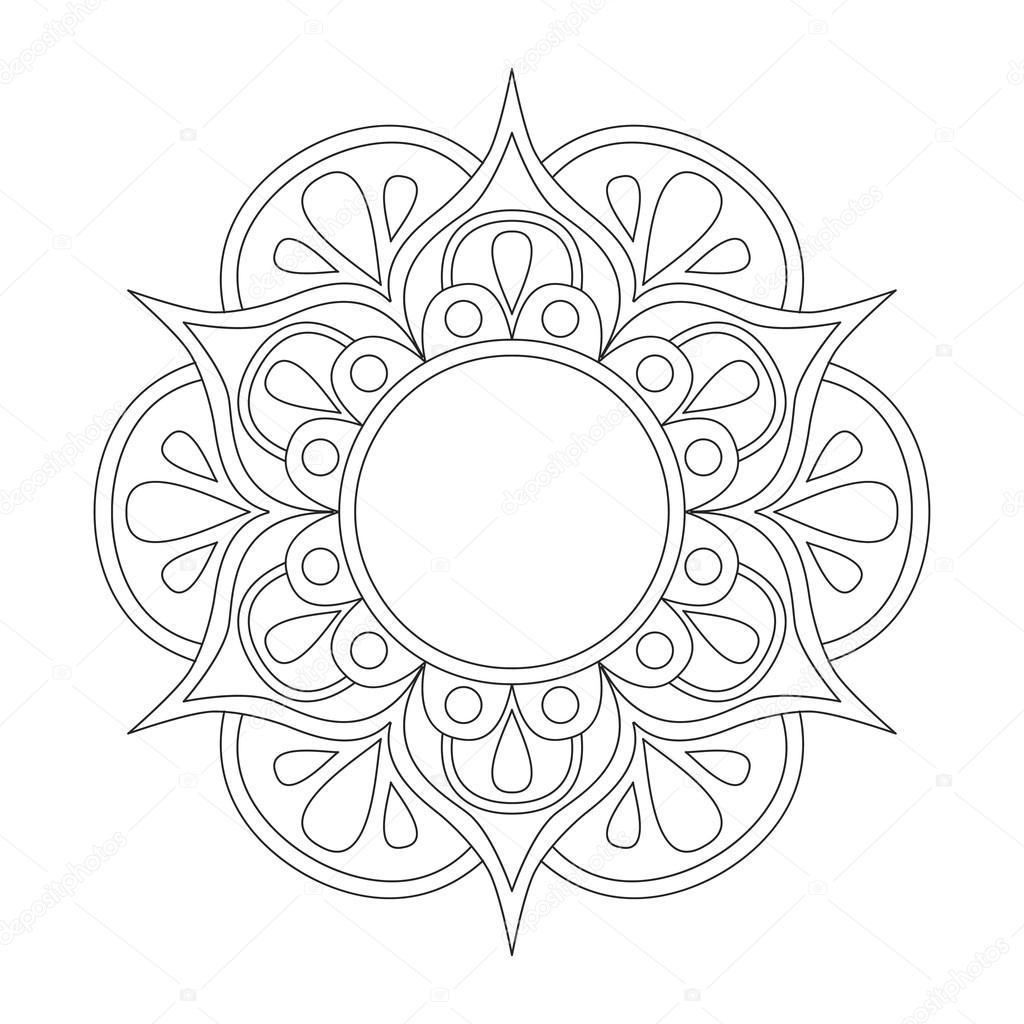 Mandala boyama kitabı için anahat. Anti-stres terapisi