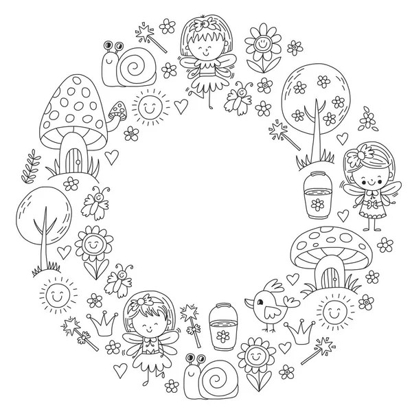 Coloring page for adult. Rounder frame made of flowers