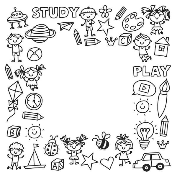 Kids friendship border-outline — Stock Vector © Mirage3