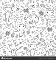 Cute Kids Chef on white background Children cooking ...