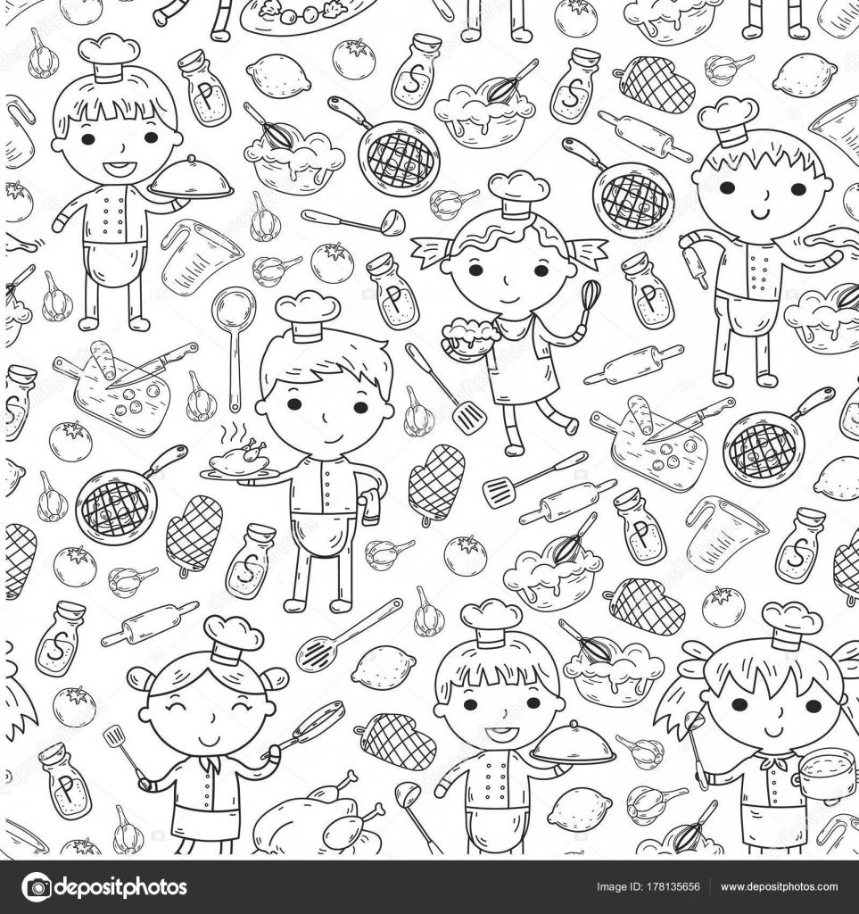 Cute Kids Chef op witte achtergrond kinderen koken keuken