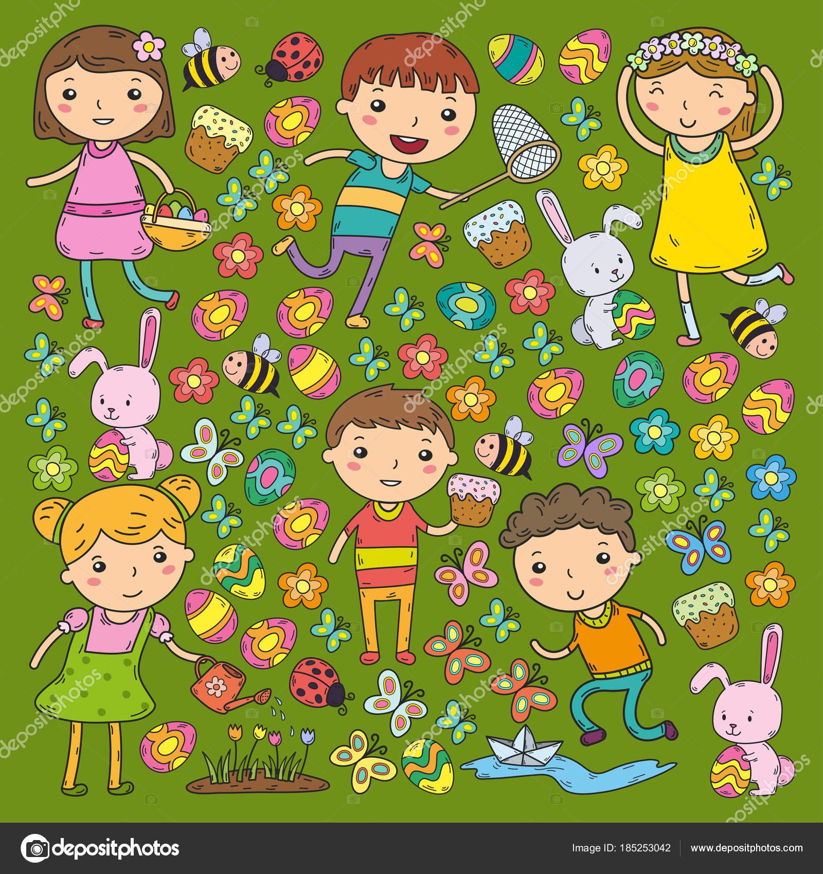 Spring Easter Little Garden Children Play Easter Cake