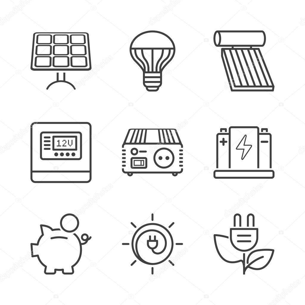 Basic Solar Energy Equipment Line Icons