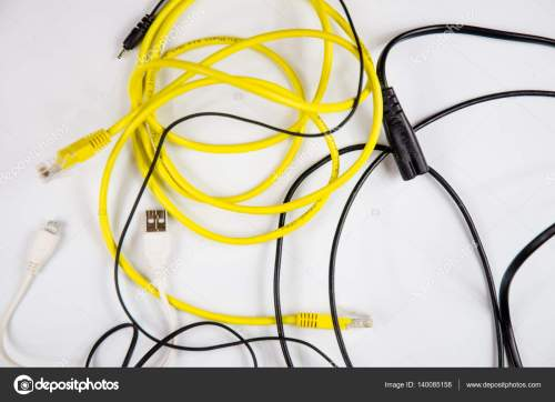 small resolution of tangled wires and cables for home electronic stock photo