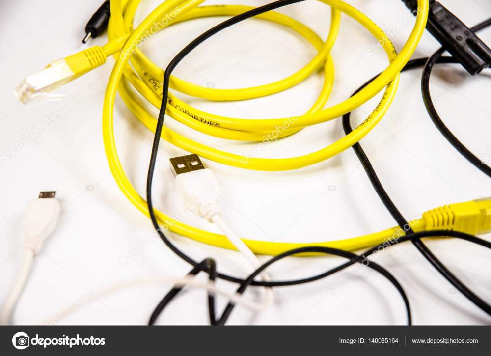 medium resolution of tangled wires and cables for home electronic stock photo