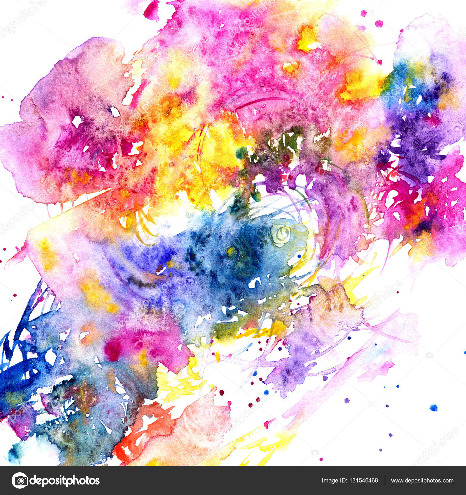 abstract watercolor flowers postcard