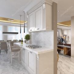 Kitchen Art Decor Ceramic Tile Countertops 与装饰艺术风格的乳白色家具豪华厨房 图库照片 C Kuprin33 128161866 豪华厨房与装饰艺术风格的乳白色家具 含早餐酒吧和酒吧凳 内置的厨房用具 3d 渲染 照片作者kuprin33