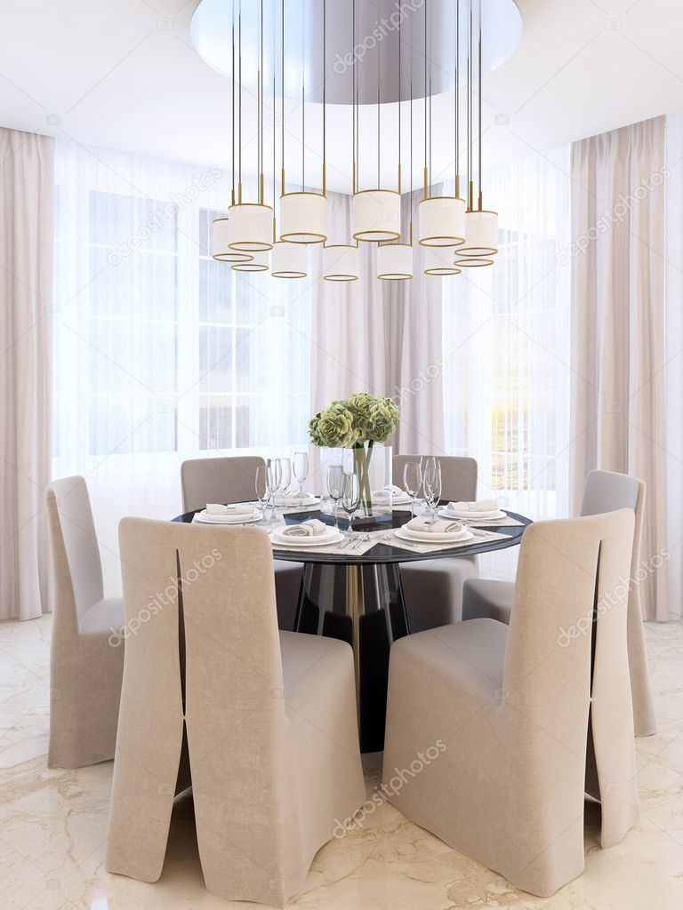 Vidaxl tavolo da bistrot grigio 60x60x75 cm in truciolato. Tavolo Da Pranzo Moderno Con Sei Sedie Foto Stock Foto Immagini C Kuprin33 128162198 Depositphotos