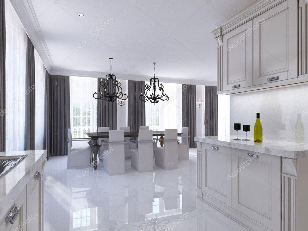modular kitchen usa appliances packages 经典白色厨房餐厅房间的装饰艺术风格 图库照片 c kuprin33 128162246 大餐桌为八个模块化厨房与综合装置的 3d 渲染 照片作者kuprin33
