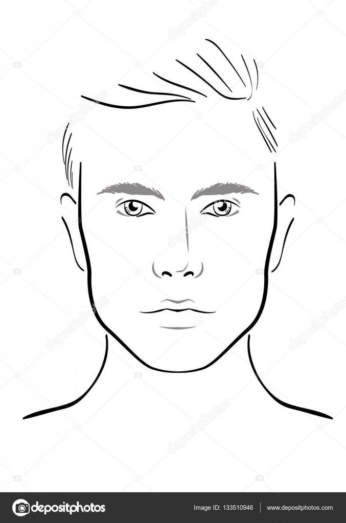 Face chart Makeup Artist Blank. Template. Vector