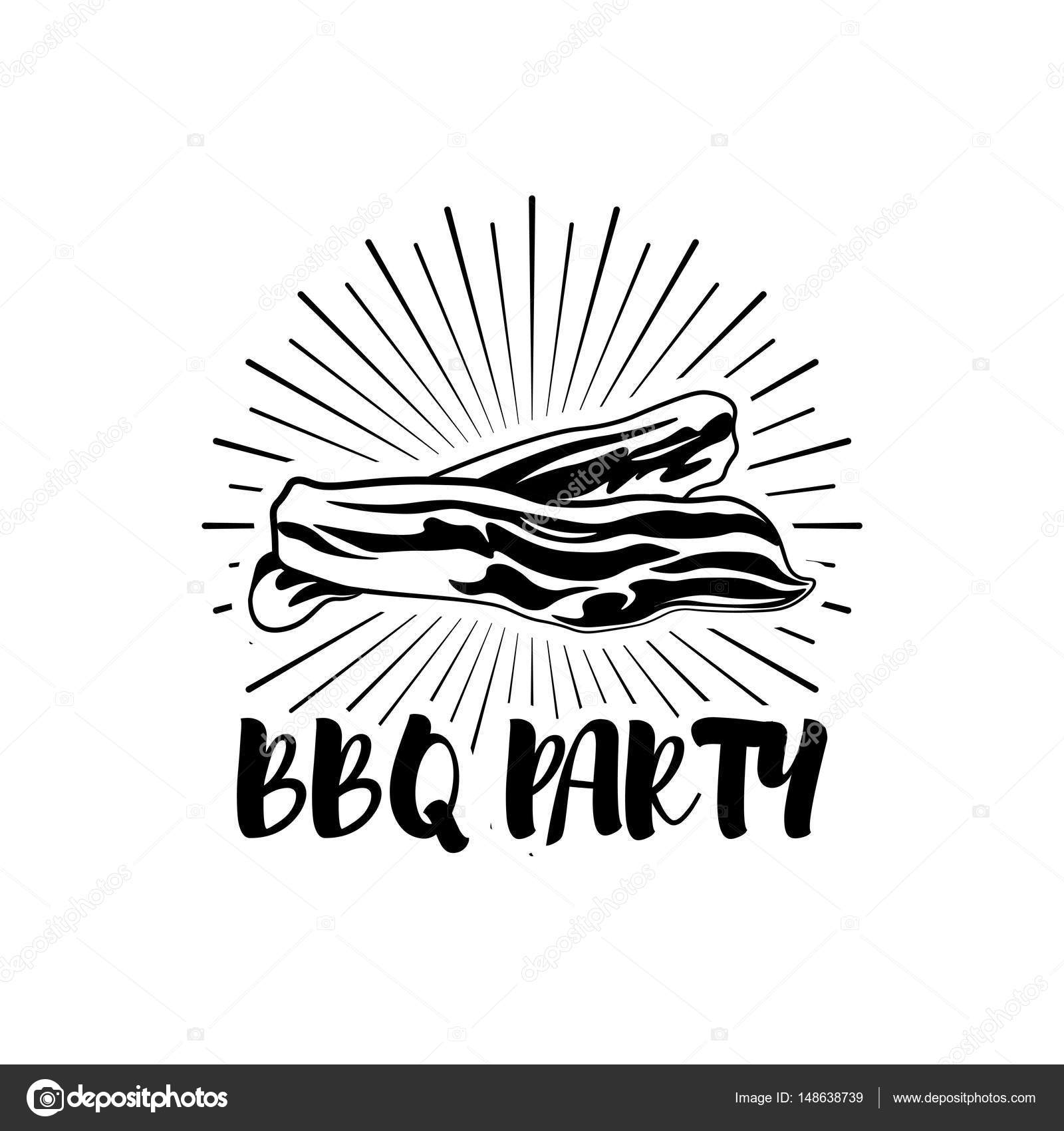 BBQ Party Badge. Bacon grill label. Vector illustration
