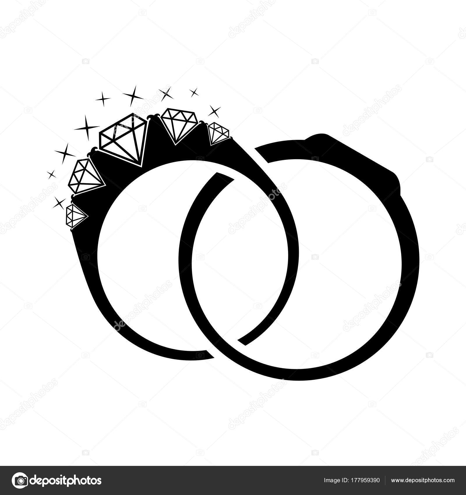 Wedding Rings Diamond Illustration Silhouette Rings