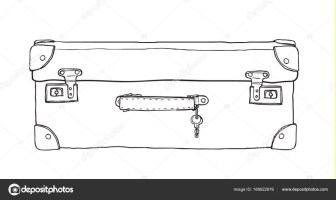 Koffer vintage mit Schlüssel handgezeichnet niedlichen ...