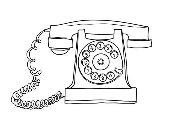 Vintage phone sketch cartoon hand drawn illustration