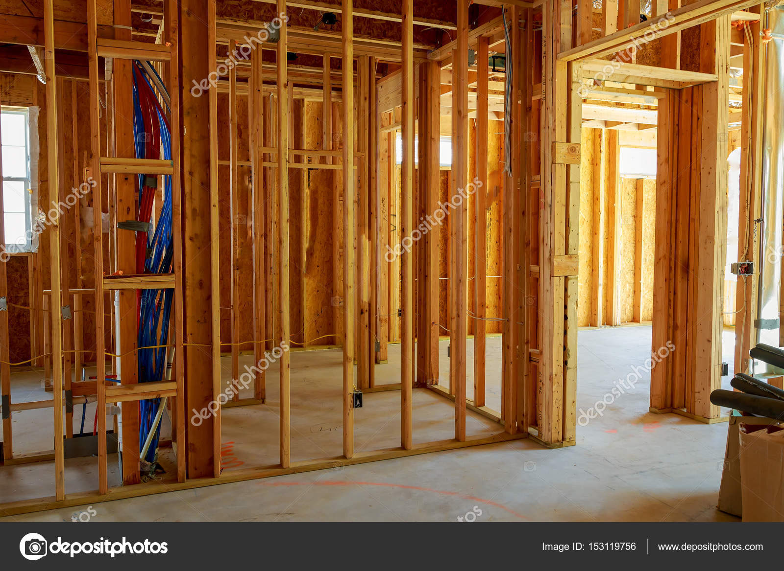 hight resolution of framed building or residential home with basic electrical wiring complete stock photo