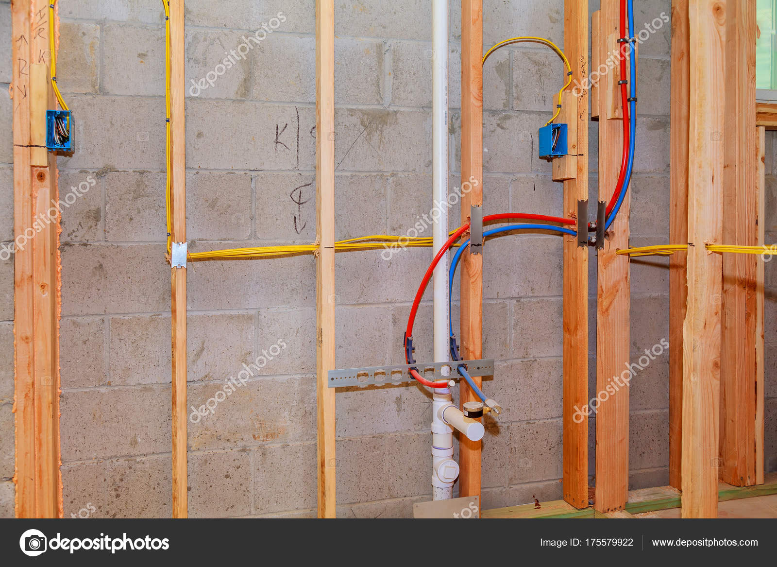 hight resolution of unfinished wood frame building or house stock photo