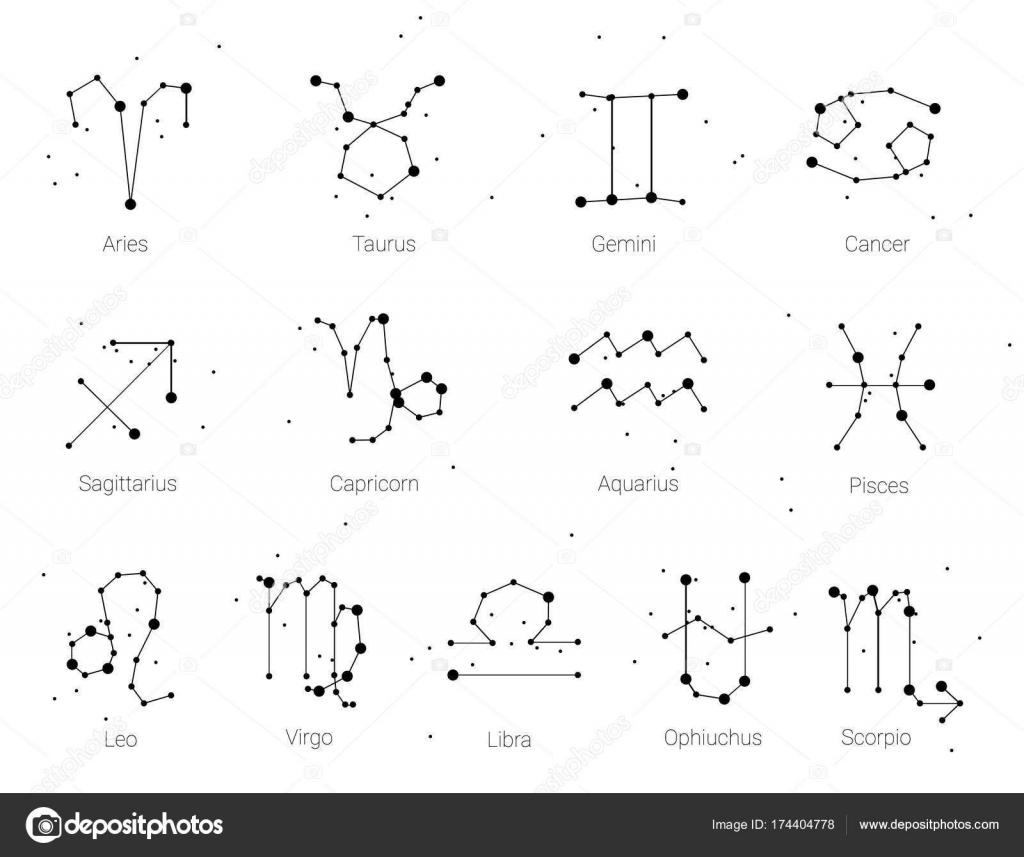 Horoskop Alle Tierkreiszeichen Im Sternbild Stil Mit
