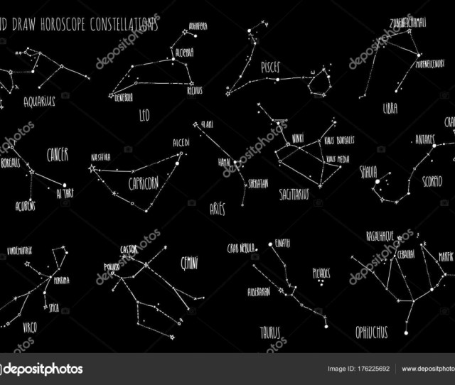 Hand Draw Horoscope Constellations All Zodiac Signs With Line And Dots With Name Of Main Stars Collection Of Sketched Zodiac Constellation