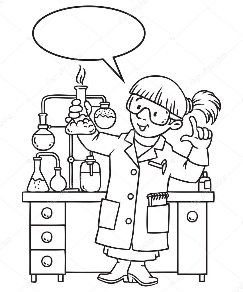 Coloring book of funny chemist or scientist — Stock Vector
