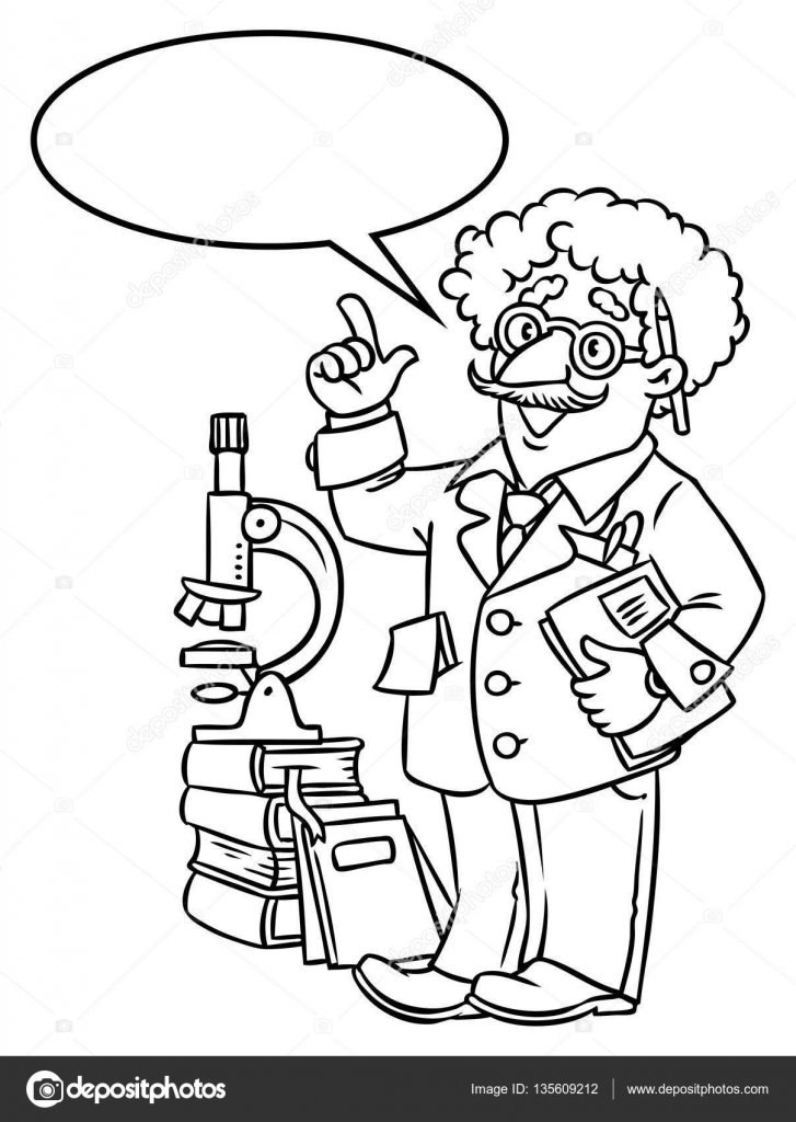 Funny scientist or inventor. With balloon for text — Stock