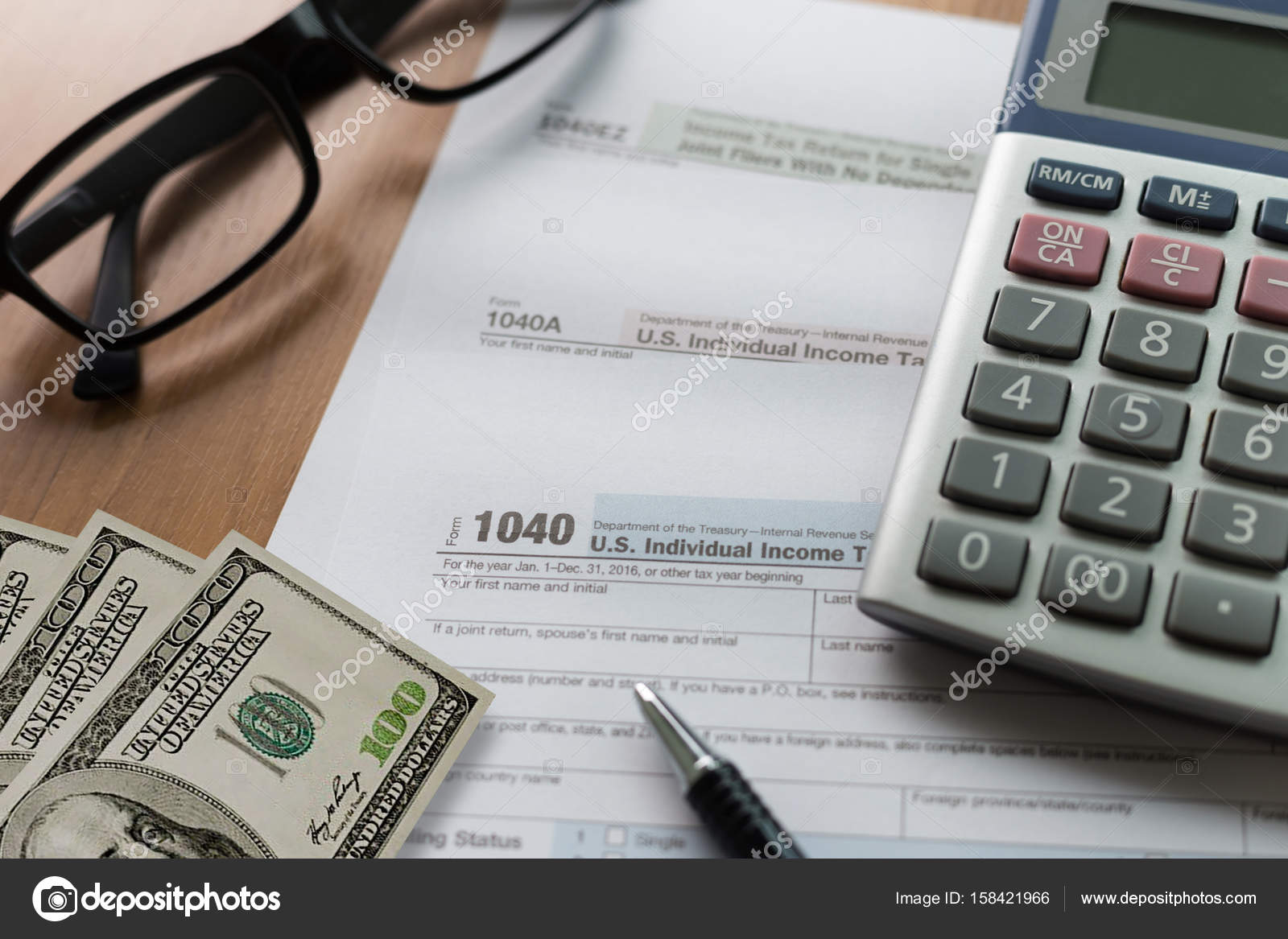 Tax Individual Income Return Financial Accounting Form Time For — Stock  Photo
