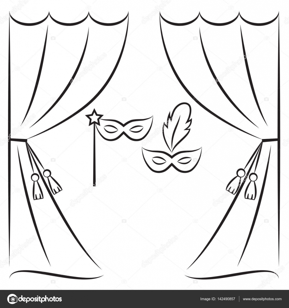 Theater curtain and masks vector line illustration — Stock