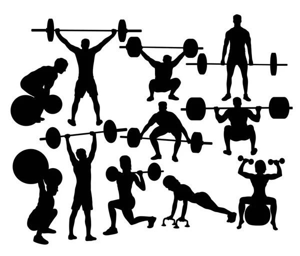 Sport Silhouette of weightlifting and Bodybuilding — Stock