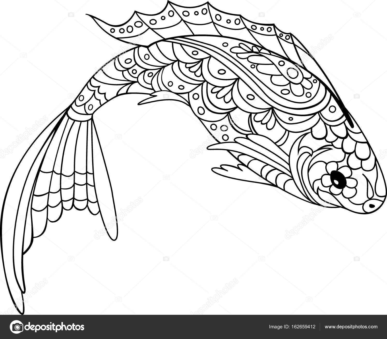 fish zentangle style. Coloring book for adult and kids