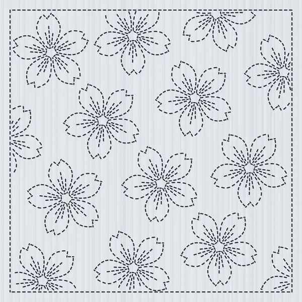 Sakura flowers in the frame Sashiko Quilting motif — Stock