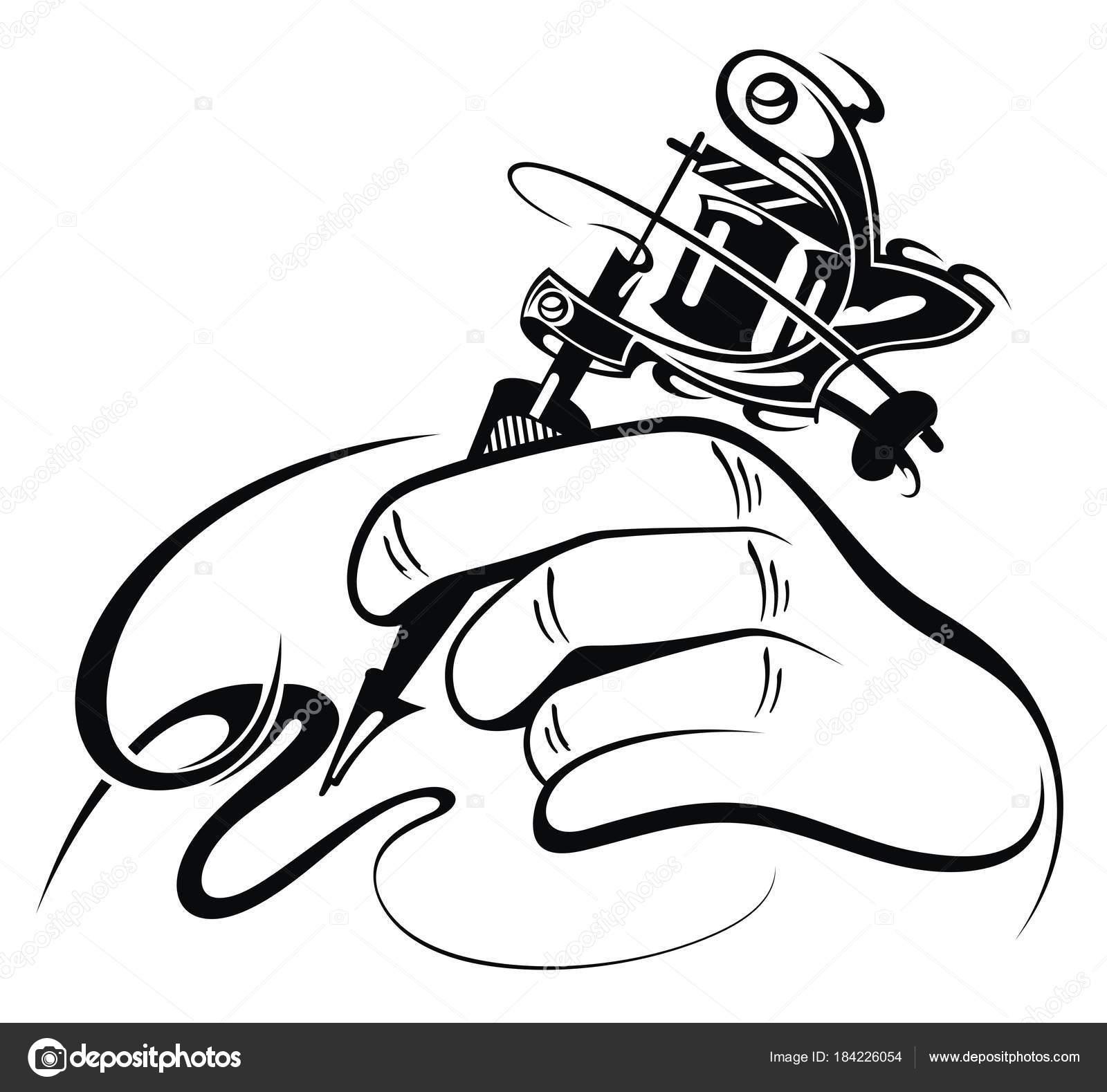 Black White Design Hand Manual Tattoo Machine — Stock