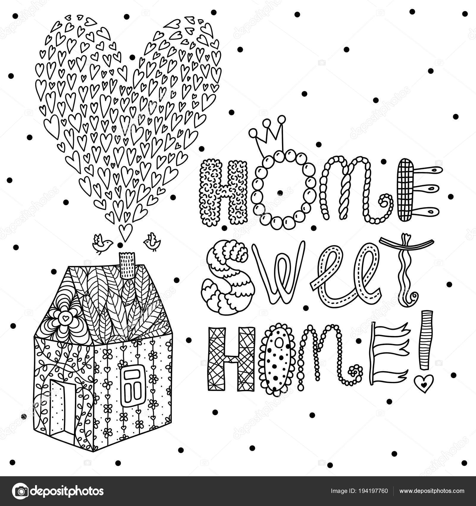 Sweet Home Background Vector Postcard Coloring — Stock