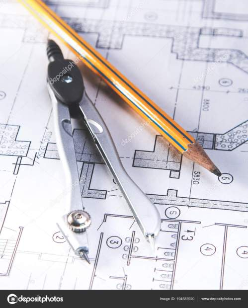 small resolution of architectural plans compass and ruler on the desk stock image
