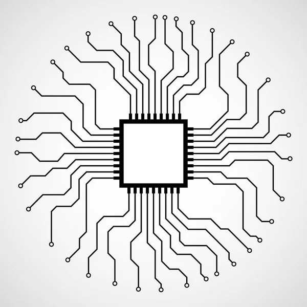 Cpu. Microprocessor. Microchip. Abstract technology symbol