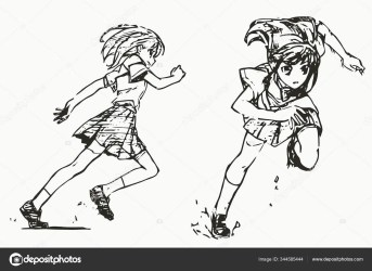 Anime Poses Drawing Reference Anime Body Sketch Cute Girl Manga Stock Photo © satoshy #344585444