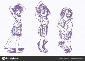 Anime Poses Drawing Reference Anime Body Sketch Cute Girl Manga Stock Photo © satoshy #344585728